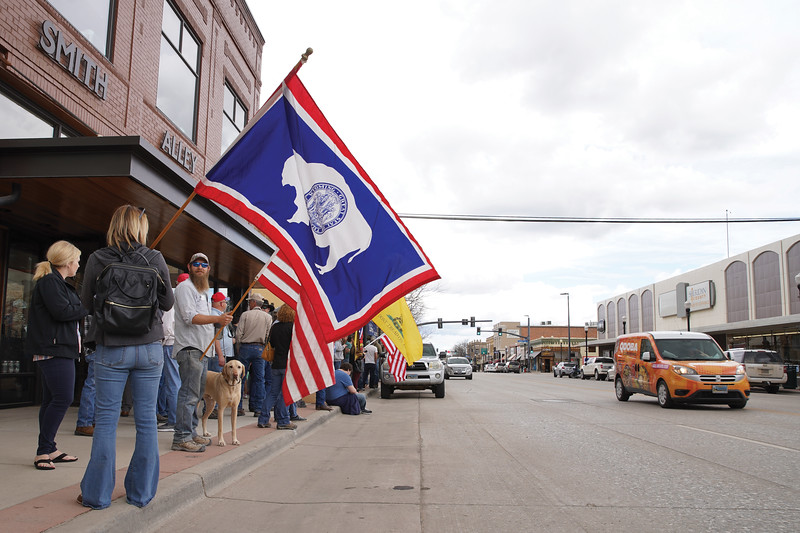 Matthew Gaston   The Sheridan Press<br>Protesters held flags in support of the United States and Wyoming during a freedom rally held at Smith Alley Brewing Company Friday, May 15, 2020.