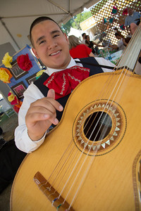 Nathan Garcia of the University of Texas-Pan Am Mariachi Aztlán and his guitarrón