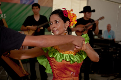"Ana Veydo Ordonez dances with Grupo Cimarron of Columbia. They are masters of the ""joropo llanero"" tradition."