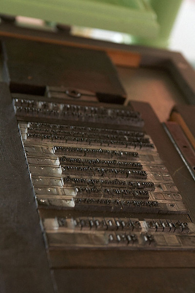 Text set on the press.