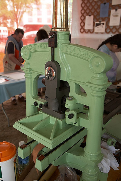 A printing press.