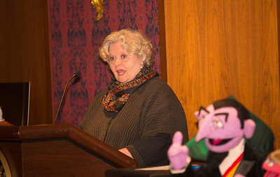 Bonnie Erickson, who created the Miss Piggy puppet with Henson and now is executive director of the Jim Henson Legacy foundation, with puppet Prairie Dawn. Count von Count in foreground