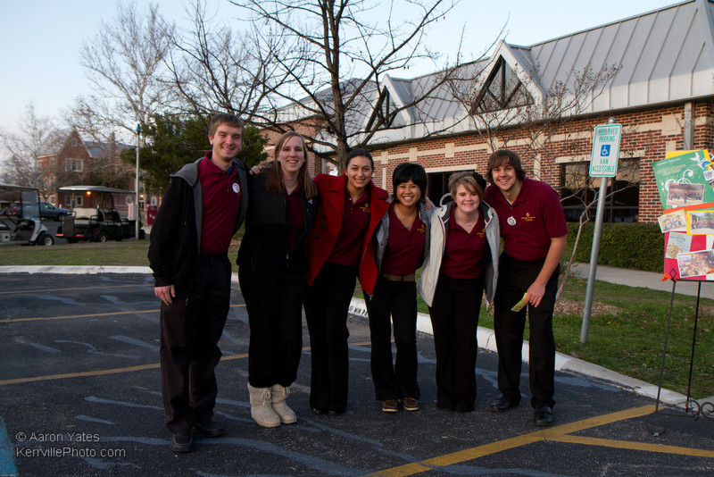 Members of the Schreiner University Choir wait to valet park vehicles for guests of the Snow Ball Gala.