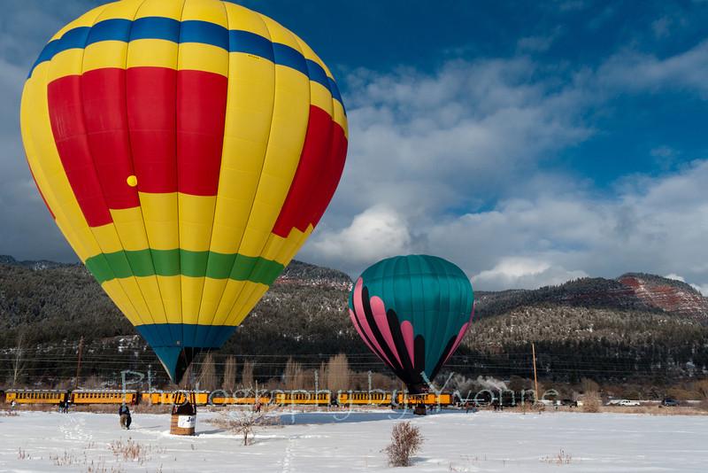 Balloons pause near the D&SNGR's Snowdown Balloon Train 2/4/12.
