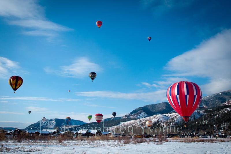 Hot air balloons float over the Animas Valley, Durango CO.