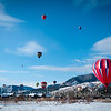 Hot air balloons float over the Animas Valley, Durango CO.