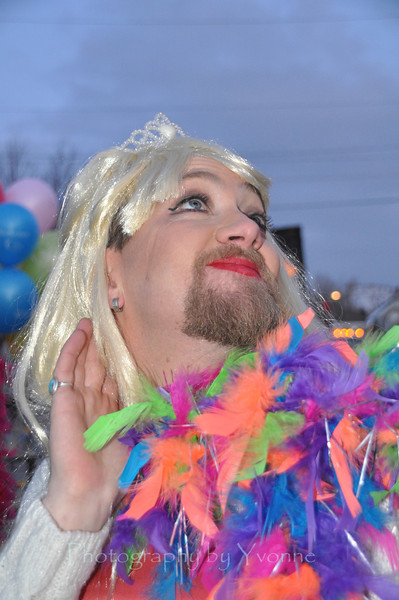 """2012 Snowdown Light Parade.  David was profesionally made up to participate in the float """"Cancer's a Drag""""."""