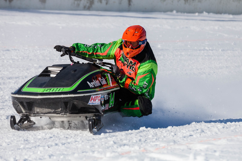 Tibby McDowell | The Sheridan Press<br /> <br /> Greg Lonero leans left to balance his sled during the X-Treme Mountain Racing snommobile races at Sheridan Speedway Saturday Jan. 27, 2018.