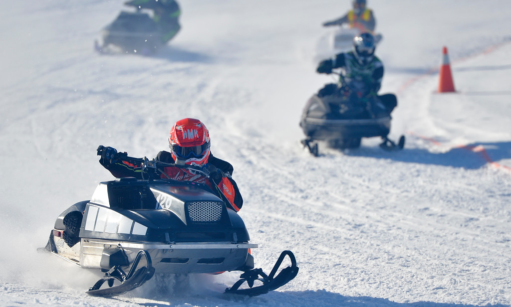 Justin Sheely | The Sheridan Press<br /> Sheridan's Brad Townsend leans in on a turn during the snowmobile racing event at Sheridan Speedway Saturday, Jan. 27, 2018. This was the first time Sheridan hosted the Extreme Mountain Racing circuit.