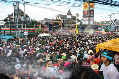 Thai's celebrate their New Year with the Songkran festival.  Originally, this involved sprinkling a small amount of water on ones elders as a token of respect but these days you're more likely to be confronted with buckets and a collection of high powered water guns as everyone joins in up to five days of soaking fun.