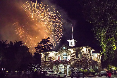 Fireworks over the City Hall in the Sonoma Plaza.