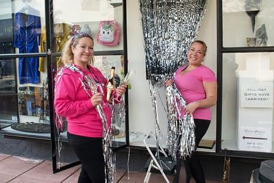 10:03am  Jodi and Evonne Stevens decorating the window for Sonoma Speakeasy.