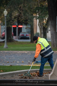 7:00am Raking leaves in the Plaza.