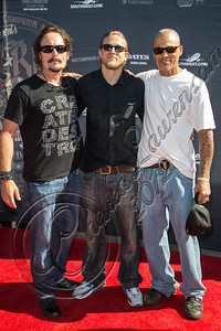 HOLLYWOOD, CA - AUGUST 26:  (L-R) Actors Kim Coates, Charlie Hunnam and David Labrava attend the 2nd Annual Boot Ride and Rally at The Happy Ending Bar & Restaurant on August 26, 2012 in Hollywood, California.  (Photo by Chelsea Lauren/WireImage)