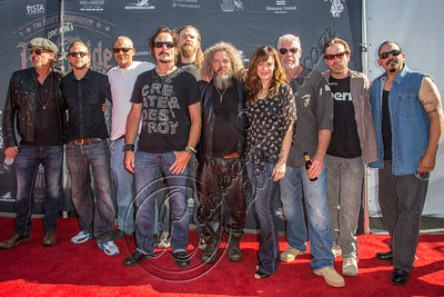 HOLLYWOOD, CA - AUGUST 26:  (L-R) Actors Tommy Flanagan, Charlie Hunnam, David Labrava, Kim Coates, Ryan Hurst, Mark Boone Jr., Maggie Siff, Ron Perlman, Kurt Yaeger and Emilio Rivera attend the 2nd Annual Boot Ride and Rally at The Happy Ending Bar & Restaurant on August 26, 2012 in Hollywood, California.  (Photo by Chelsea Lauren/WireImage)