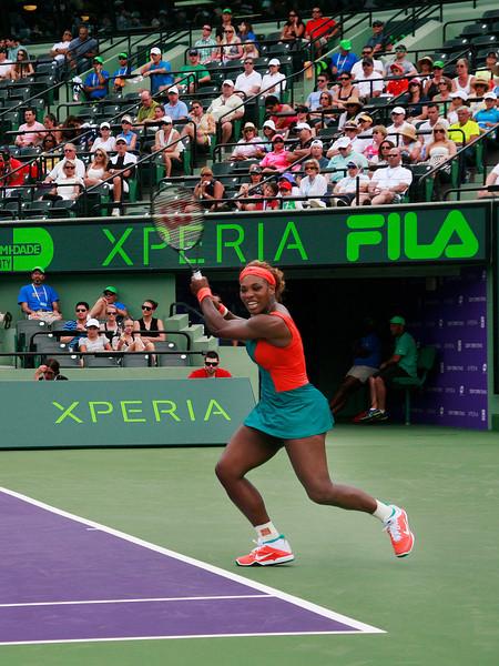 Serena Williams (USA) defeats Caroline Garcia (FRA) 6-4, 4-6, 6-4  at Sony Open Tennis, Miami, FL 2014