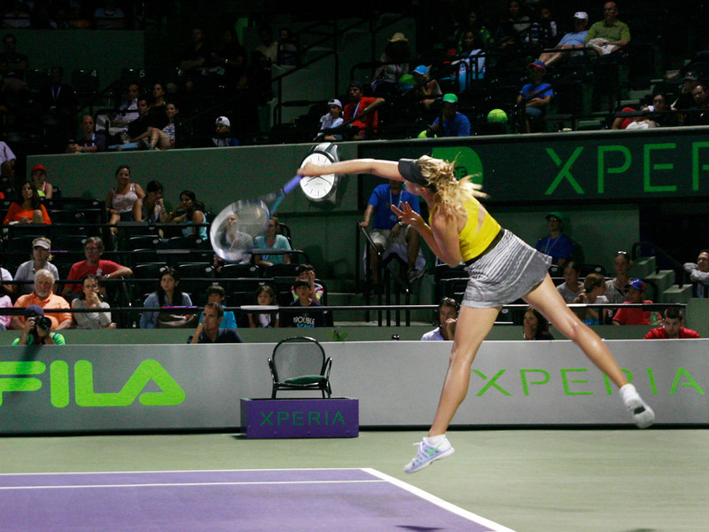 Maria Sharapova defeats Lucie Safarova  6-4, 6-7 (7), 6-2 after nine match points to close out a win Saturday night in the third round of the Sony Open