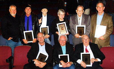 Debbie Blank | The Herald-Tribune 2018 Southeastern Indiana Musicians Association Hall of Fame inductees are (front row from left) David Kling; Kenzie Bentle; and Jim Helms; (back row) Rudy Mattox; Poe Withered; Zerbe Withered; Brenda Higgins representing her mom, the late Edith Bentle Blasdel; Joe Powell; and Ed Krause.
