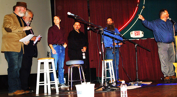 """Debbie Blank   The Herald-Tribune<br /> Southeastern Indiana Musicians Association President Caz Burdette (from right) introduced other board members: Brian DeBruler, Randall Garrett, Ed """"Chopper"""" Johnson, Deno Koumoutsos and Brian Noble. Andy Jackson is not pictured. Burdette said the association's future goals are to support area schools' music programs and scholarships, plus find a permanent home for Hall of Fame members' memorabilia. """"Check out our new website at <a href=""""https://www.seimusic.org"""">https://www.seimusic.org</a>."""""""