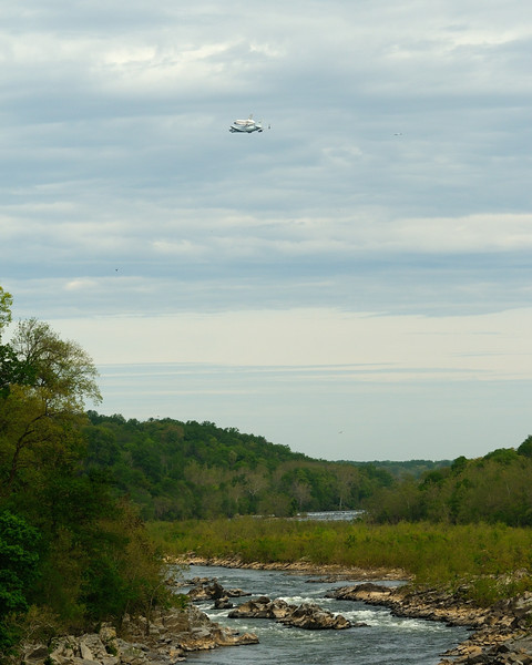 Space shuttle Discovery over Little Falls on the Potomac River<br /> <br /> April 2012