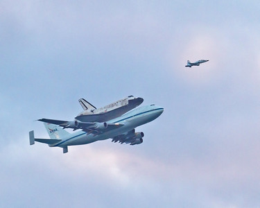 Discovery Piggy Back on 747 ~ On its way to Smithsonian institute, Washington D.C. Picture was captured in Cocoa Beach, Florida.  Very Sad day in Florida and I'm sure across the nation.
