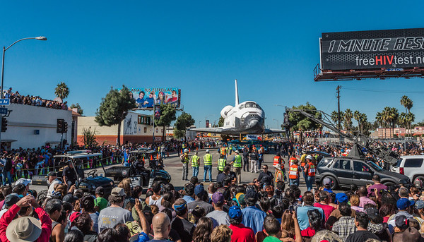 The Space Shuttle Endeavour prepared to make its last turn on a public road as it prepared to head north on Bill Robertson lane from MLK headed for the California Museum of Science and Industry.