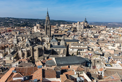 View of Toledo and the Cathedral, from the cafe in the  city library