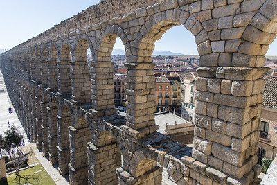 The Segovia Aquaduct is 2667 feet long and reaches a height of 94 feet