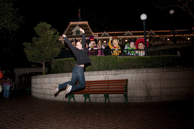 Marcy jumps with Disney characters