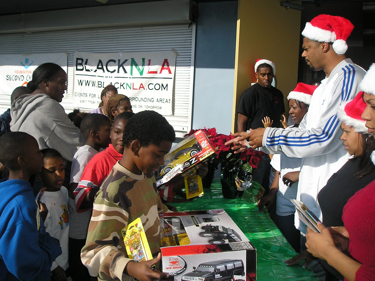 Handing out toys