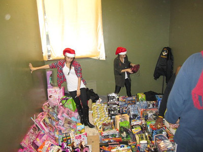 Santa's Helpers sorting toys for distribution