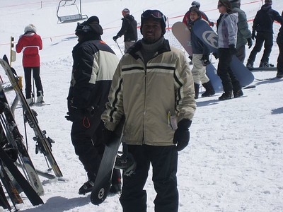 """Justin beat us to the slopes with his board...""""Hey what took you guys so long?"""""""