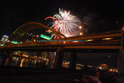 "Birthday fireworks on the Three Rivers in Pittsburgh, PA, for the ""Pittsburgh 250"" celebration on Oct. 4, 2008."