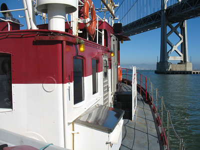 And we're off! Phoenix under SF/Oakland Bay Bridge