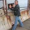 Mike at Fort Point, tapping Hopper's Hands, under Golden Gate Bridge.<br /> <br /> (Fellow IronWorkers)