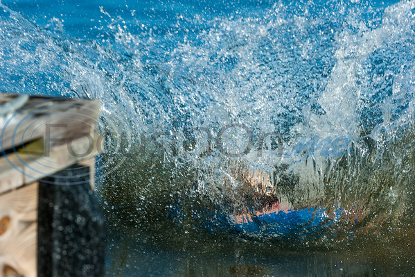 Whitney Maguire, of Ore City, makes a splash as she jumps into Lake Gladewater during a Polar Plunge benefiting Special Olympics East Texas Saturday, Feb. 8, 2020, in Gladewater. (Cara Campbell/Tyler Morning Telegraph)