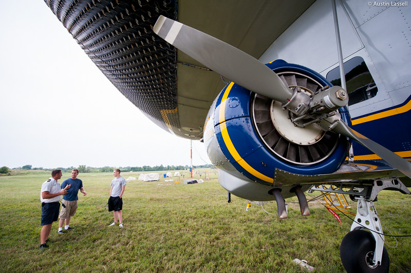 A close-up of one of the two 210 horse power engines that provide propulsion for Goodyear's Spirit of Innovation blimp, tail number N2A. Despite the great size of the blimp, it utilizes a fairly simple system of propulsion with a combined horsepower that is less than that of many high powered boats. The blimp is also not one of the fastest aircraft in the sky, cruising at a some 40 miles per hour. However, it's slow speed is easily made up for given that the blimp is able to remain aloft essentially effortlessly as compared to other types of aircraft, making it well suited for covering lengthy sporting events.