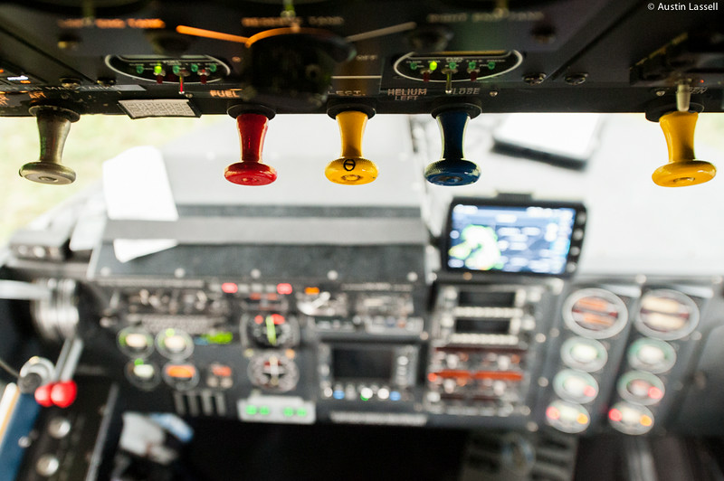 A close-up of a control panel in Goodyear's Spirit of Innovation blimp, tail number N2A.  In this photo the blimp was in Louisville, Kentucky in order to provide coverage of the 2014 PGA Championships at the Valhalla Golf Club in Louisville, Kentucky.