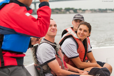4th Company candidates listen to the advice of Midshipman Nick Gioino 3rd Classman while returning to campus following obstacle course training at SUNY Maritime College on July 16th, 2014.