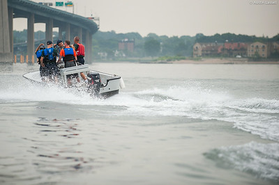 1st Company Platoon 102 candidates riding in a Whaler returning to Merchant Marine Academy following obstacle course training at SUNY Maritime College on July 14th, 2014.