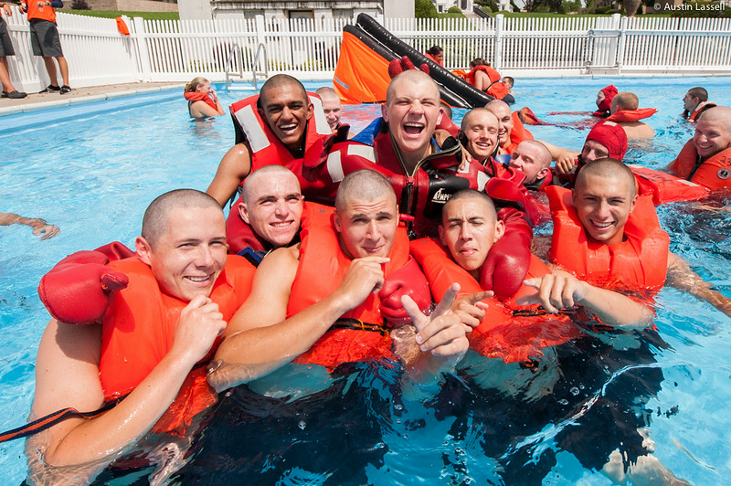 3rd Company 2nd Platoon candidates pose for a photo during water survival training on July 16th, 2014.