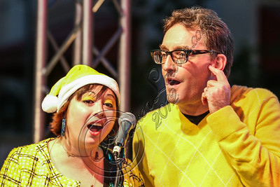 LOS ANGELES, CA - NOVEMBER 18:  Actor Tom Kenny (R) performs in the 'Spongebob Holiday Extravapants!' stage show at The Grove on November 18, 2012 in Los Angeles, California.  (Photo by Chelsea Lauren/WireImage)