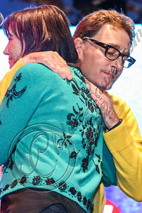 LOS ANGELES, CA - NOVEMBER 18:  Actors Jill Talley (L) and Tom Kenny perform in the 'Spongebob Holiday Extravapants!' stage show at The Grove on November 18, 2012 in Los Angeles, California.  (Photo by Chelsea Lauren/WireImage)