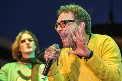 LOS ANGELES, CA - NOVEMBER 18:  Actors Mr. Lawrence (L) and Tom Kenny perform in the 'Spongebob Holiday Extravapants!' stage show at The Grove on November 18, 2012 in Los Angeles, California.  (Photo by Chelsea Lauren/WireImage)