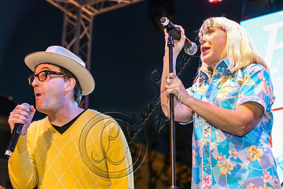 LOS ANGELES, CA - NOVEMBER 18:  Actors Tom Kenny (L) and Carolyn Lawrence perform in the 'Spongebob Holiday Extravapants!' stage show at The Grove on November 18, 2012 in Los Angeles, California.  (Photo by Chelsea Lauren/WireImage)