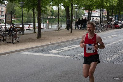 Top runner at km 38 on the banks of the Danube river