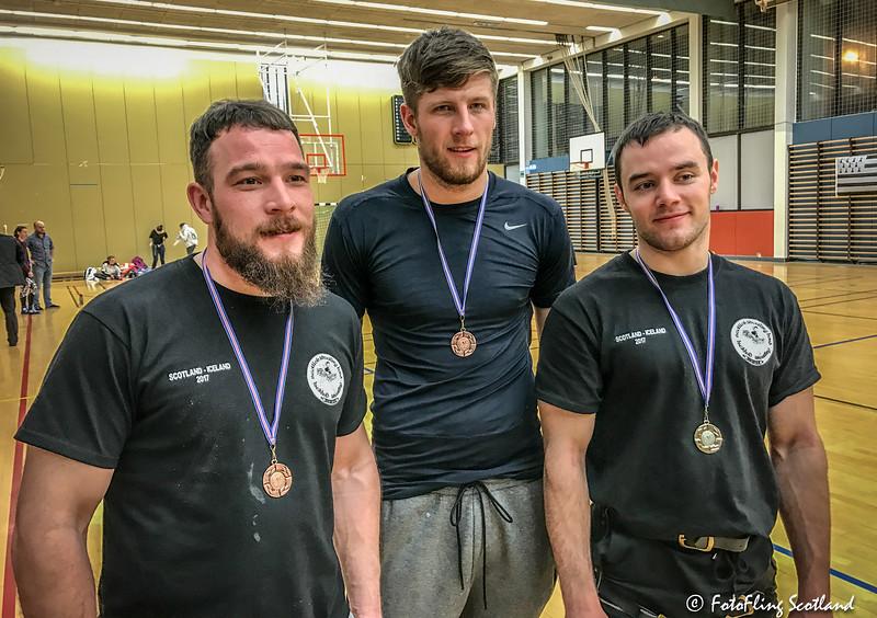 Scottish Glíma Competition Medalists: Frazer Hirsh, Ryan Dolan & Paul Craig