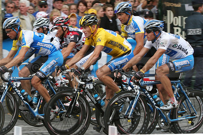 Lance Armstrong rides up the Champs-Elysées on the last stage of his *historic 7th Tour De France win (July 2005)  *Lance Armstrong was stripped of his Tour de France titles and banned in 2012