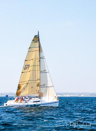 Port Geographe, Australia - Feb 22, 2012: Yatchs compete on calm seas in the annual Port Geographe Yatch Club Regatta.