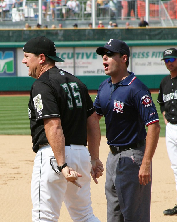 New Hampshire manager Mike Basso get ejected by first base umpire Brian Reilly.
